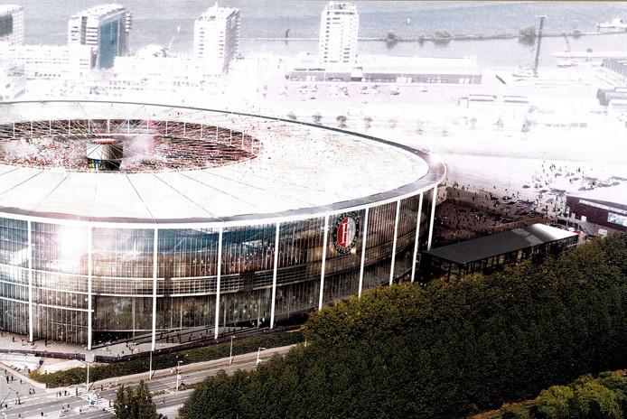 De buitenkant van het stadion.