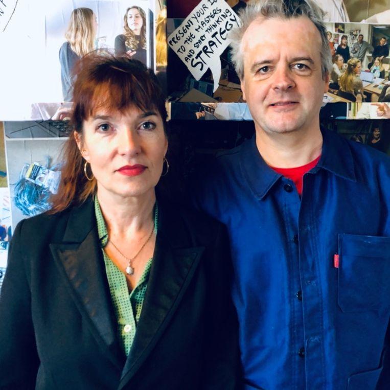 Architectuurhistoricus Michelle Provoost en bijzonder hoogleraar Ontwerp en Politiek aan de TU Delft, Wouter Vanstiphout. Beeld Margriet Oostveen