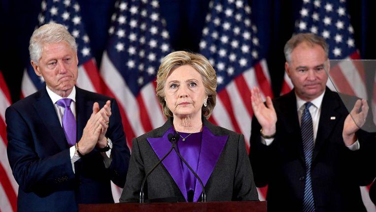 Hillary Clinton geeft een toespraak nadat de presidentsverkiezingen zijn gewonnen door Donald Trump. Beeld afp