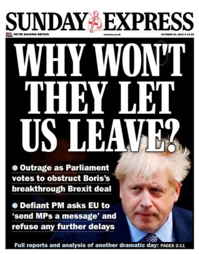 """""""Waarom laten ze ons niet vertrekken?"""", vraagt de krant Sunday Express zich luidop af."""