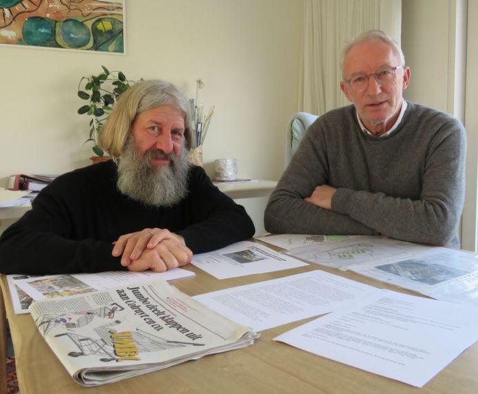 Erwin Ureel en Ricky Arteel van actiecomité Leefbaar Schiervelde willen geen winkelcentrum in de achtertuin van de Schierveldewijk.