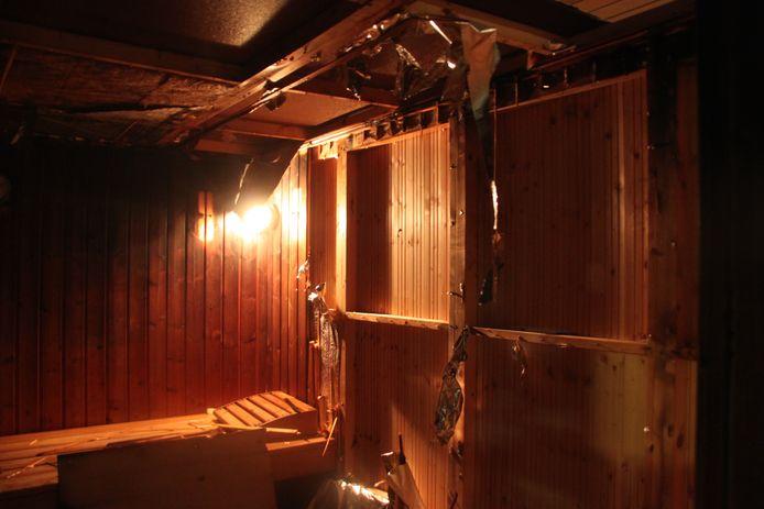 De sauna raakte beschadigd.