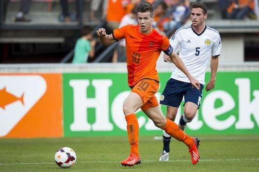 Marco van Ginkel in het kwalificatieduel met Jong Schotland op 5 september 2013 (4-0).