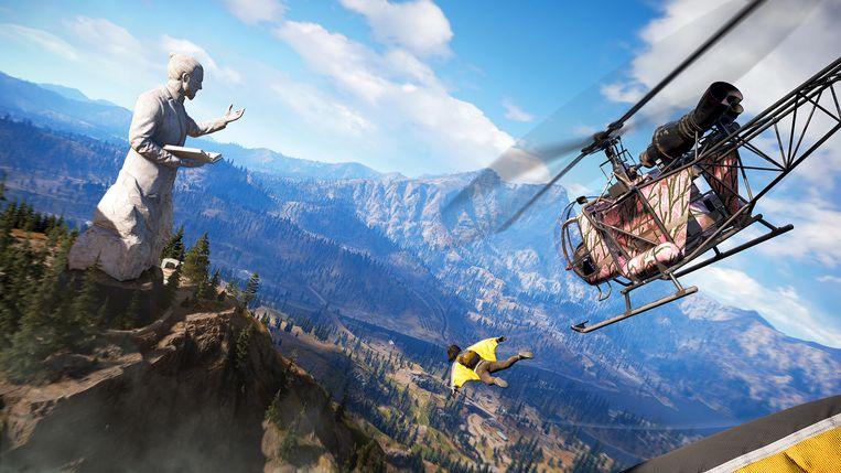 Met een wingsuit vliegen behoort ook tot de opties in 'Far Cry 5'.