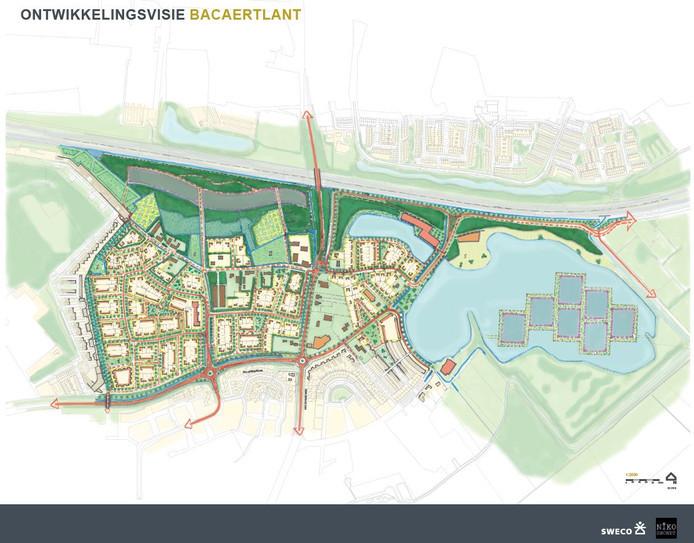 Een eerste schets van de nieuwe wijk die destijds nog  Backaertlant als werktitel had.