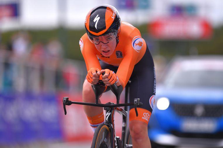 Anna van der Breggen tijdens het Europees Kampioenschap tijdrijden in Plouay, in augustus, die ze won. Beeld Getty Images