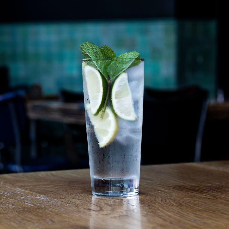 Een glas water met zo veel mogelijk ijs en fruit bij Palladium. Beeld Lin Woldendorp