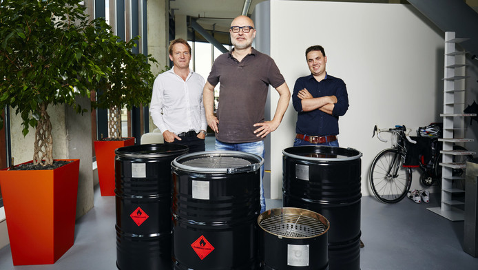 Vlnr Huub Sparnaay, Onno Vos en Gerben Bierbooms van BarrelQ.