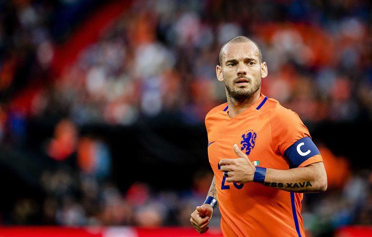 Wesley Sneijder bij het Nederlands elftal.