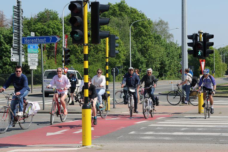Drukte van fietsers op de Herentalse Ring. Geen auto te bespeuren.