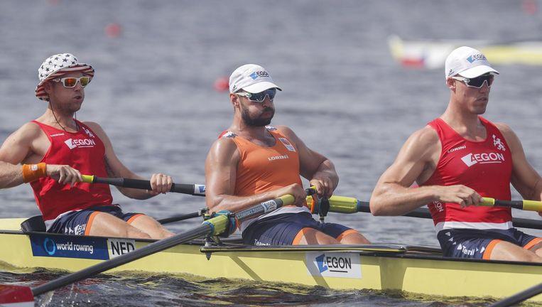 Bjorn van den Ende en Ruben Knab van de Holland Acht trainen in Sarasota, Florida. Beeld EPA