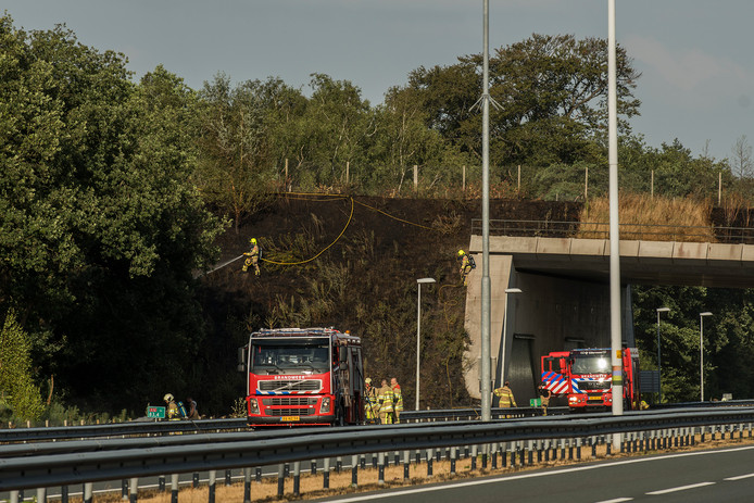 Met grote inzet had de brandweer de bermbrand snel onder controle