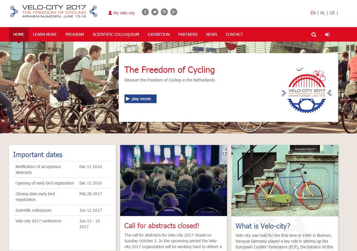 De site van Velo-city 2017.