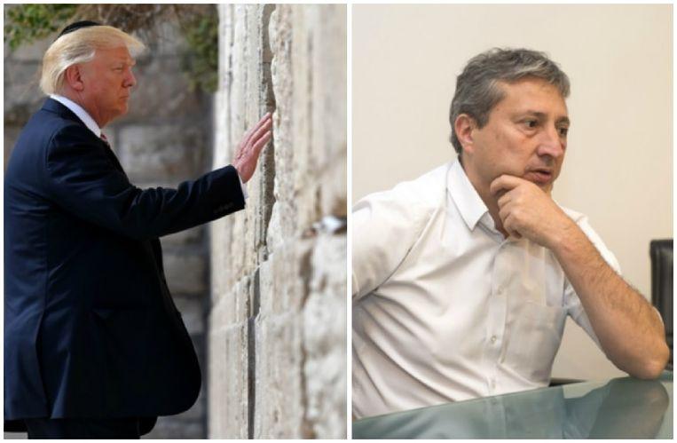 Donald Trump bij zijn bezoek aan de Klaagmuur in Jeruzalem in mei 2017. Foto rechts: Antwerps diamantschepen Ludo Van Campenhout (N-VA).