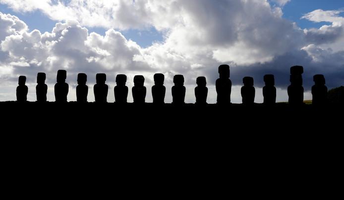 De beroemde beelden van Paaseiland.