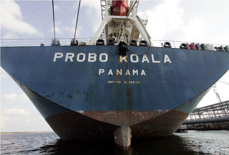Het schip de Probo Koala van Trafigura, dat in 2006 chemisch afval dumpte in Abidjan, Ivoorkust. Beeld AFP