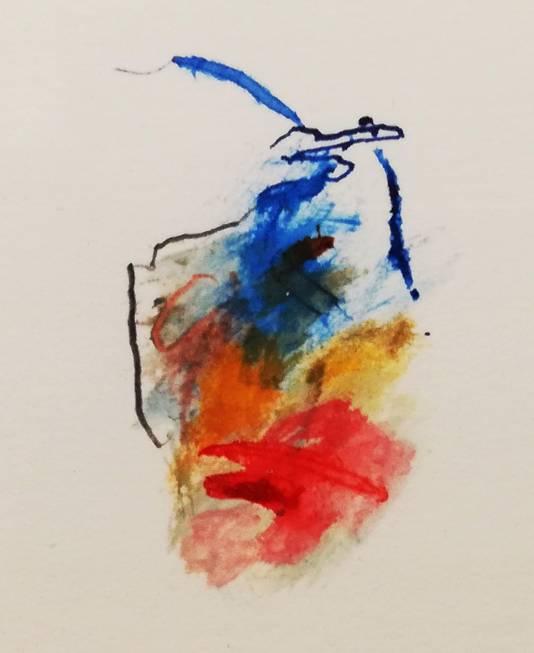 Jan de Heer bouwt tekeningen op uit minuscule schilderijtjes (detail)
