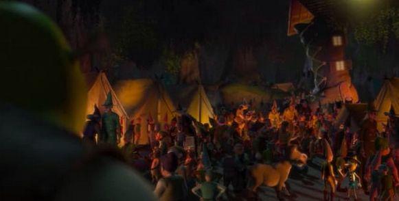 Shreks deel van het bos wordt overspoeld door magische wezens op de vlucht.