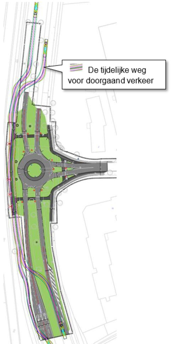 De tijdelijke weg zorgt ervoor dat tijdens de werkzaamheden bedrijfsterrein De Vutter en de gebieden daar omheen bereikbaar blijven.