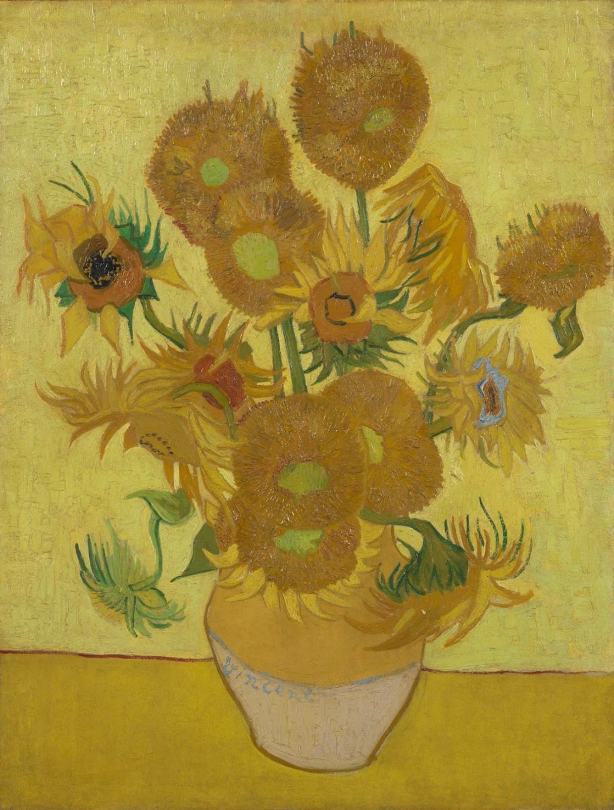 'Zonnebloemen' van Vincent van Gogh, 1889 Beeld