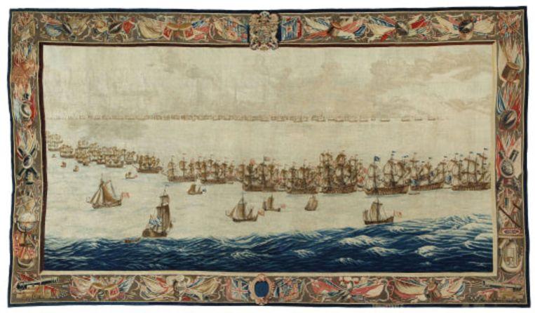 Het grootste doek met als titel 'The Fleets drawn up for Battle'. De vloot ligt klaar voor de slag bij Solebay. Beeld Het Scheepvaartmuseum