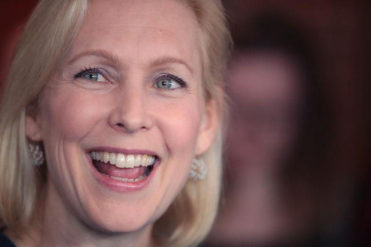 Gillibrand bij een campagnebijeenkomst eerder deze maand. Beeld AFP