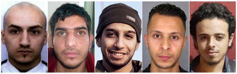 Politiefoto's van vijf verdachten van de aanslagen in Parijs. Van links naar rechts: Fransman Samy Amimour, een nog onbekende man, Abdelhamid Abaaoud, Salah Abdeslam en Bilal Hadfi. Beeld null