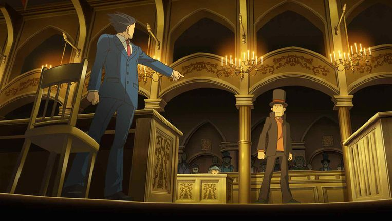 Sherlock vs Holmes in Professor Layton vs Phoenix Wright: Ace Atorney voor de 3DS. Beeld Level 5/Capcom