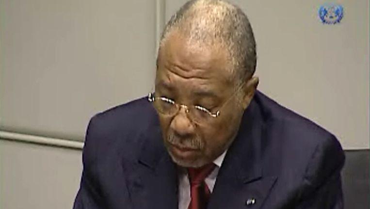 Charles Taylor in de rechtszaal, vandaag. Beeld AFP