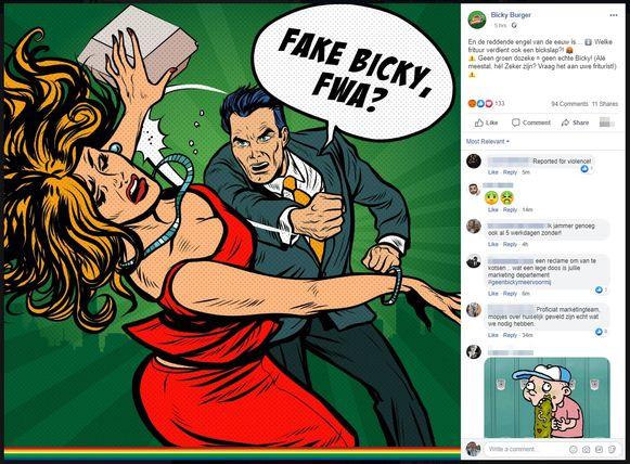 """Er is zware verontwaardiging ontstaan over een nieuwe reclamecampagne van Bicky Burger. Die toont hoe een man een vrouw slaat, terwijl hij """"Fake Bicky, fwa!"""" roept. Op sociale media wordt met onbegrip gereageerd: """"Proficiat, mopjes over huiselijk geweld zijn echt wat we nodig hebben"""", klink het, en ook: """"Wat een degoutante, platvloerse, goedkope campagne""""."""