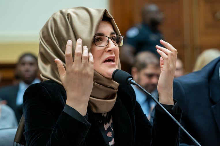 Hatice Cengiz, de verloofde van de vermoorde journalist Jamal Khashoggi.