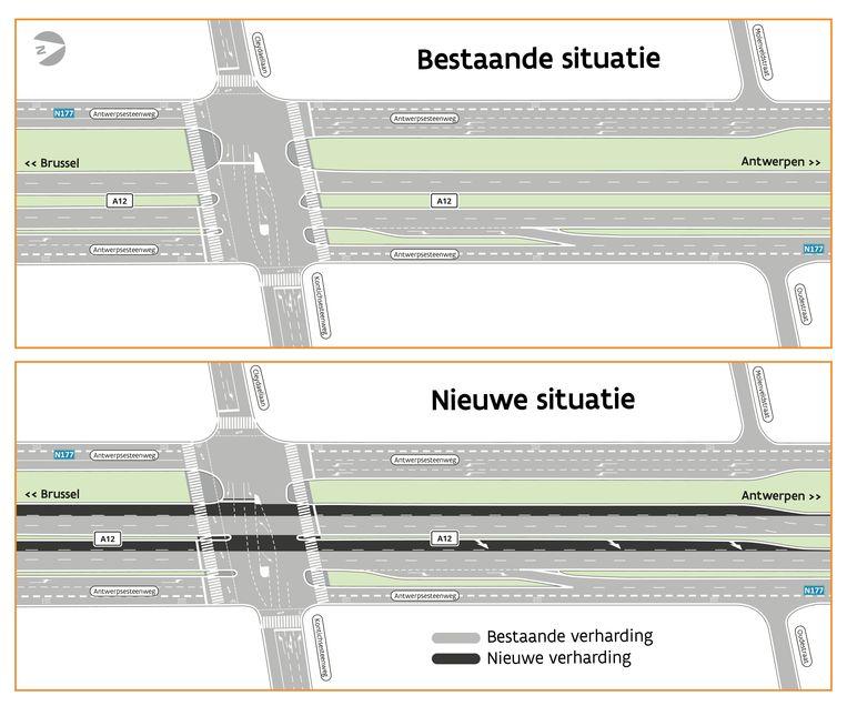 De geplande aanleg van de opstelstroken op de A12 in Aartselaar.