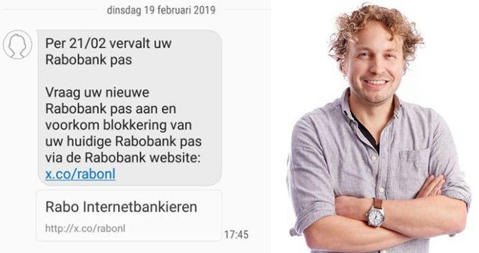 Het bericht dat niet alleen columnist Niels Herijgens op zijn telefoonscherm zag verschijnen. Van de Rabobank? Natuurlijk niet!