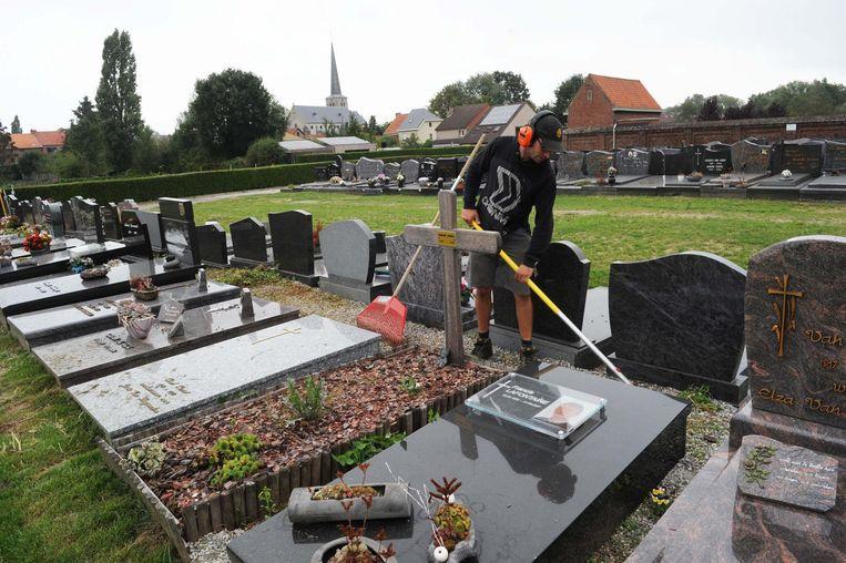 In Humbeek is een externe firma nu al bezig met onkruid wieden.