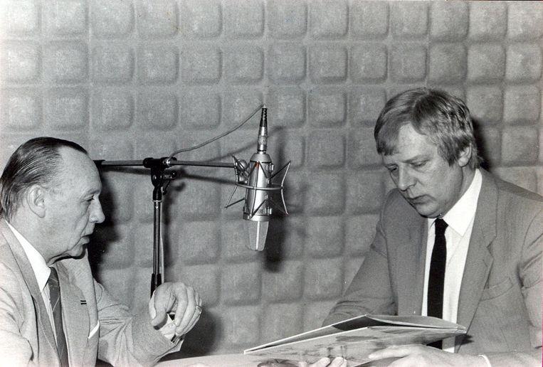 Willy Lustenhouwer (links), hier met Norbert Van Slambrouck, in de beginjaren van radio VBRO.