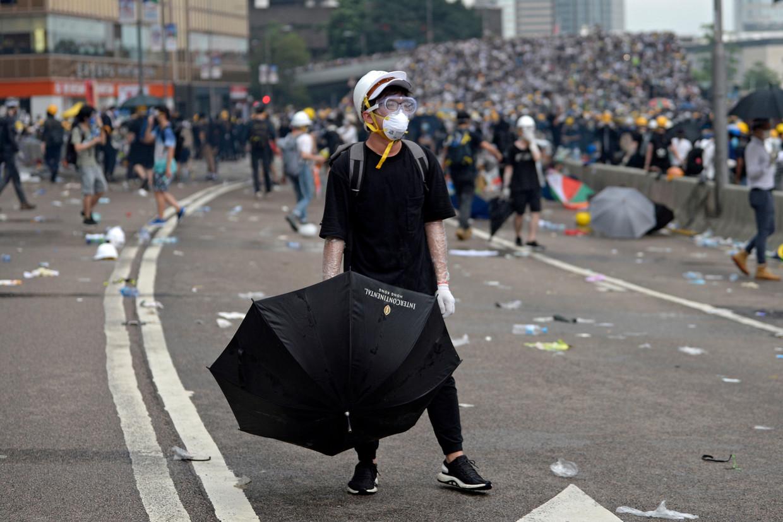 Rellen voor de regeringsgebouwen in Hongkong.