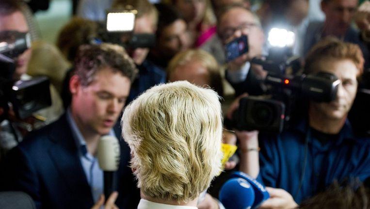 PVV-leider Geert Wilders geeft een reactie op het vertrek van Kamerleden Hernandez en Kortenoeven Beeld null