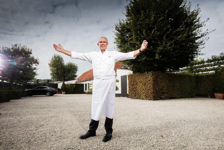 Peter Goossens bij zijn driesterrenrestaurant  Hof van Cleve in Kruishoutem.