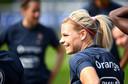Le Sommer tijdens de training van de nationale ploeg in  Clairefontaine.