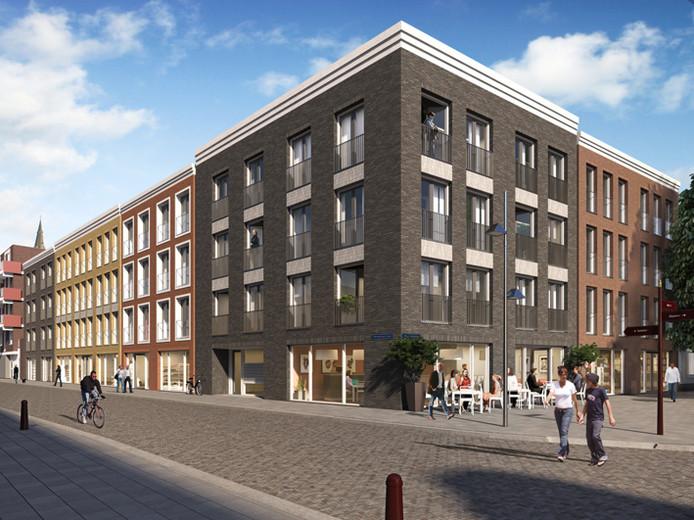 Impressie van de appartementen die Hendriks Coppelmans Bouwgroep gaat bouwen aan en bij het Beugelsplein in Helmond. Hier is de hoek Beugelsplein-Kerkstraat Zuid in beeld. De commerciële ruimte op de begane grond is komen te vervallen.