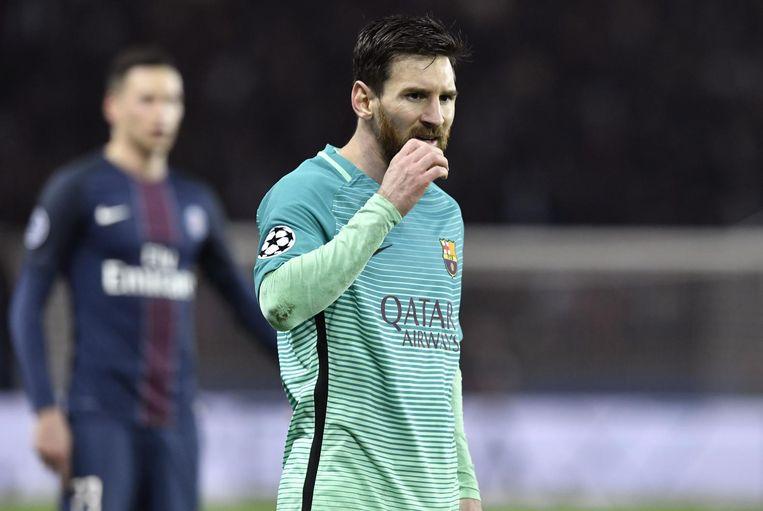 Een gedesillusioneerde Lionel Messi, vedette van FC Barcelona. Beeld afp