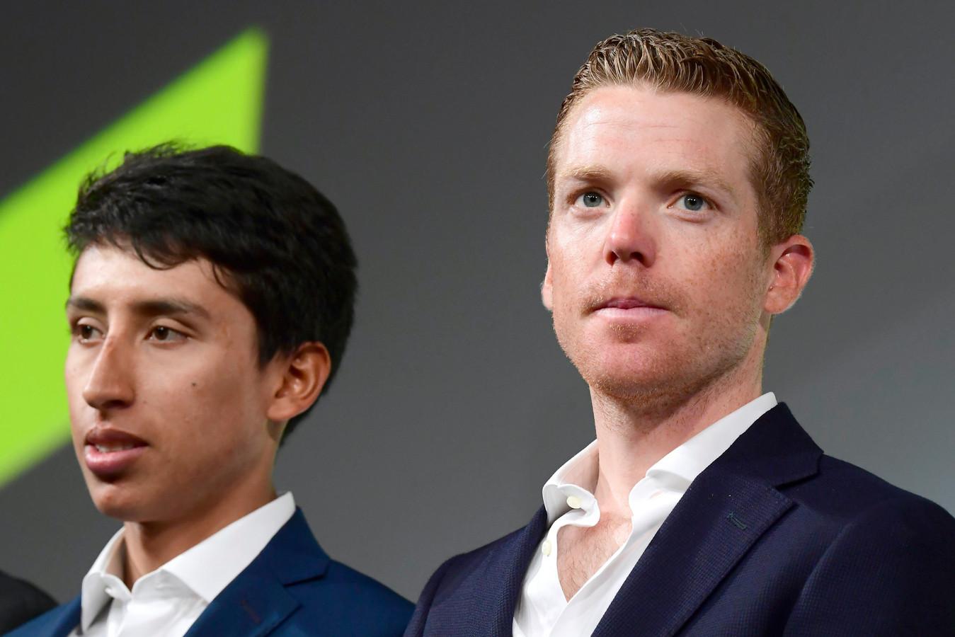 Steven Kruijswijk (rechts) en de Tourwinnaar van 2019: Egan Bernal.