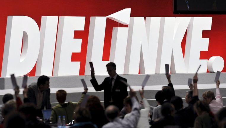De opmars van Die Linke brengt eindelijk schwung in de tot dusver saaie Duitse verkiezingscampagne. Vooral sociaaldemocraten worstelen met hun houding tegenover de succesvolle linkse concurrent. Foto EPA Beeld