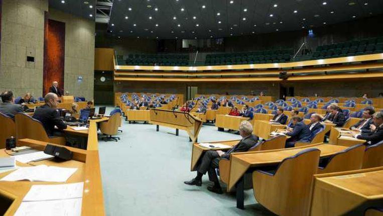Minister Frans Timmermans van Buitenlandse Zaken is aan het woord tijdens een debat in de Tweede Kamer Beeld null