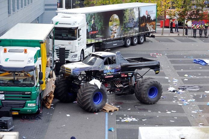 De monstertruck van Mario D. na het drama in Haaksbergen.