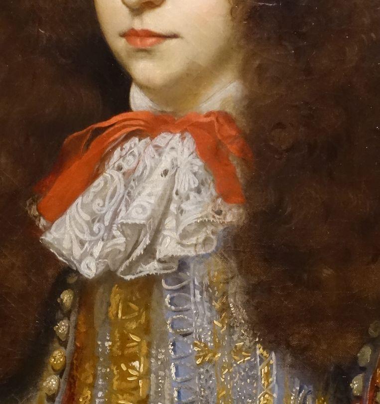 Close-up van Portret van Maria van Oranje (1642-1688), met Hendrik van Nassau-Zuylestein (overleden in 1673) en een bediende, c. 1665 door Jan Mijtens. Beeld Margareta Svensson / Collectie Mauritshuis Den Haag