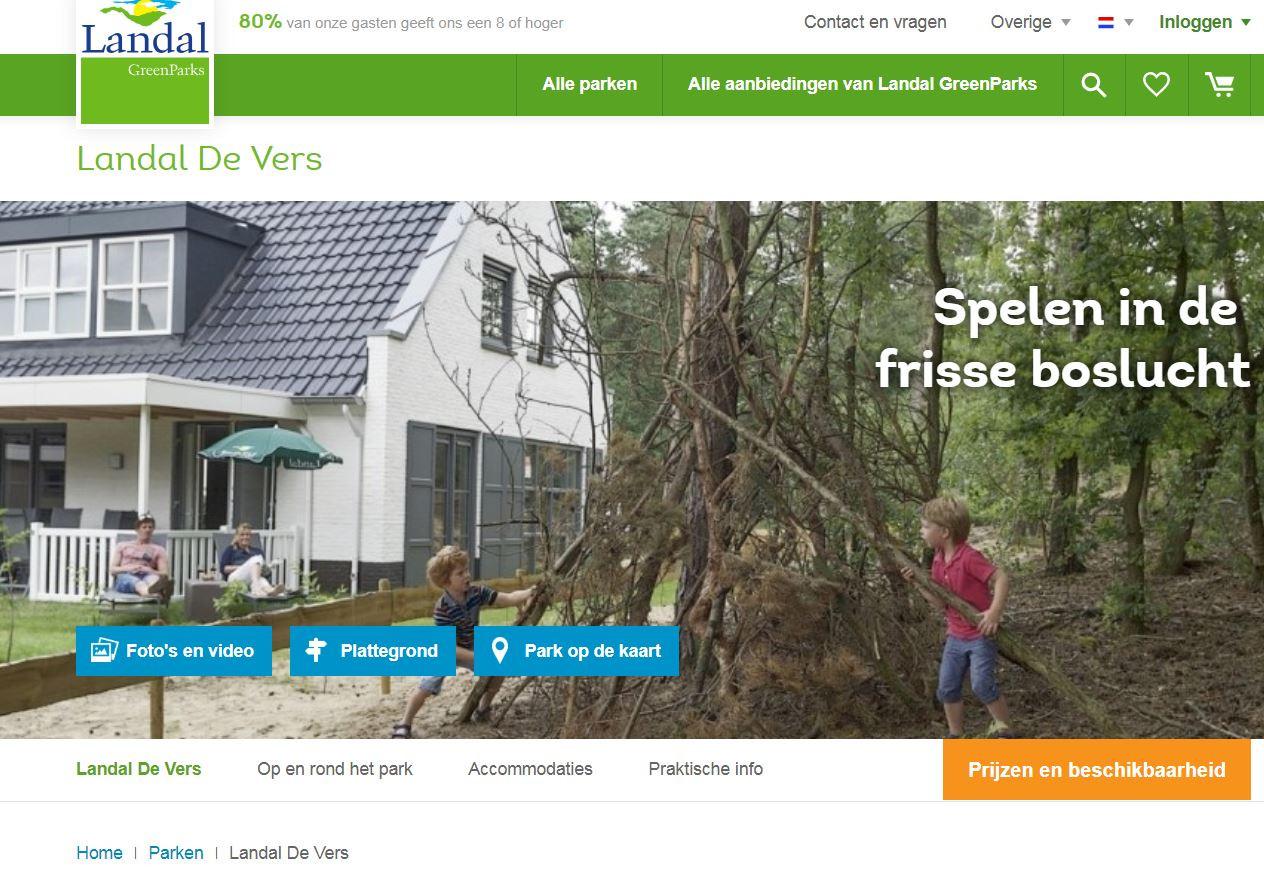 De site van Landal park De Vers bij Overloon.