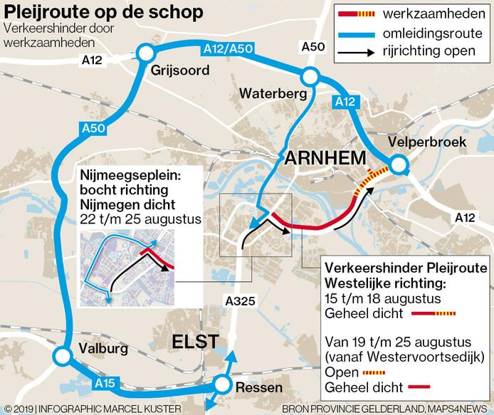 De A325 wordt afgesloten van het Velperbroekcircuit richting GelreDome. De blauwe wegen zijn de omleidingsroutes.