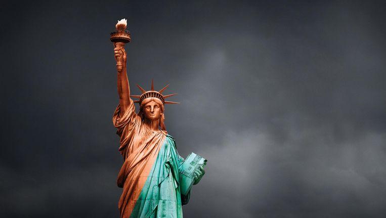 Het campagnebeeld van 'Make America Shine Again' van de Belgische zakenkranten L'echo en De Tijd.