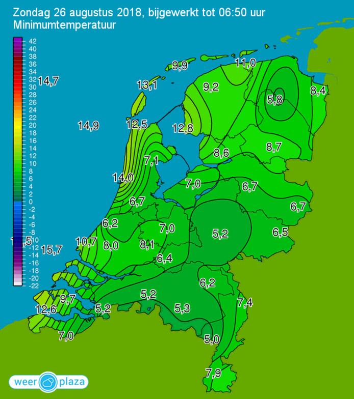 Temperaturen van koude nacht in augustus.